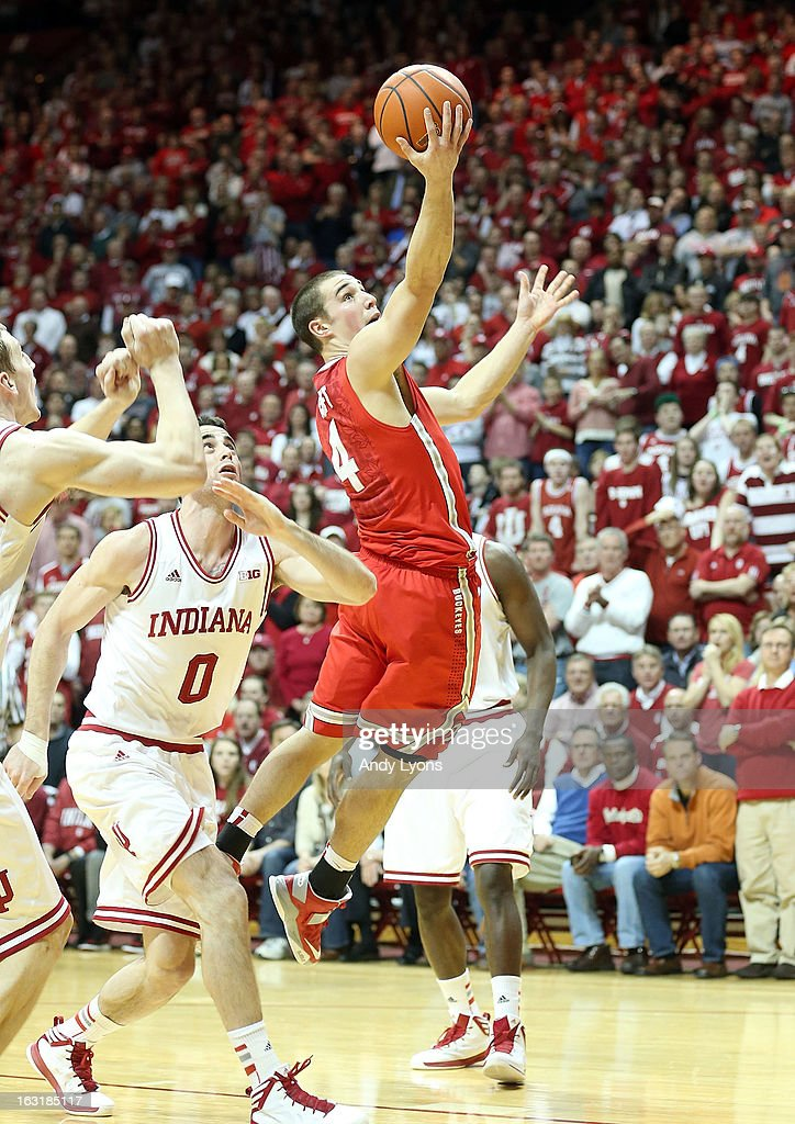 Aaron Craft #4 of the Ohio State Buckeyes shoots the ball during the game against the Indiana Hoosiers at Assembly Hall on March 5, 2013 in Bloomington, Indiana. Ohio State won 67-58.
