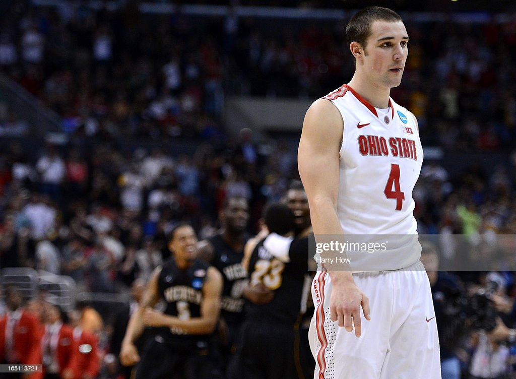 Aaron Craft #4 of the Ohio State Buckeyes walks off the court after losing to the Wichita State Shockers 70-66 during the West Regional Final of the 2013 NCAA Men's Basketball Tournament at Staples Center on March 30, 2013 in Los Angeles, California.