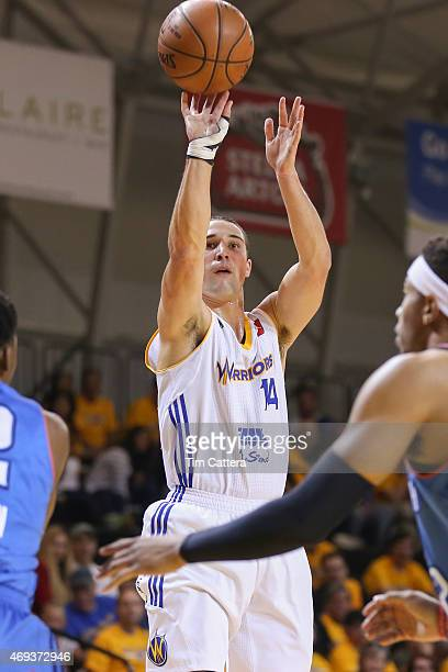 Aaron Craft of the Santa Cruz Warriors shoots a threepointer against the Oklahoma City Blue during the Western Conference SemiFinal NBA DLeague game...