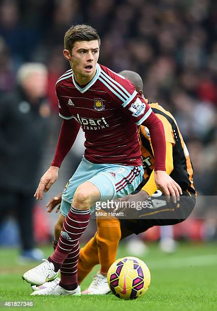 Aaron Cresswell of West Ham in action during the Barclays Premier League match between West Ham United and Hull City at Boleyn Ground on January 18...