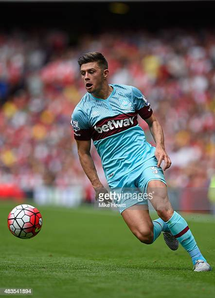 Aaron Cresswell of West Ham United in action during the Barclays Premier League match between Arsenal and West Ham United at Emirates Stadium on...