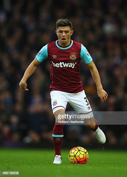 Aaron Cresswell of West Ham United in action during the Barclays Premier League match between West Ham United and West Bromwich Albion at Boleyn...