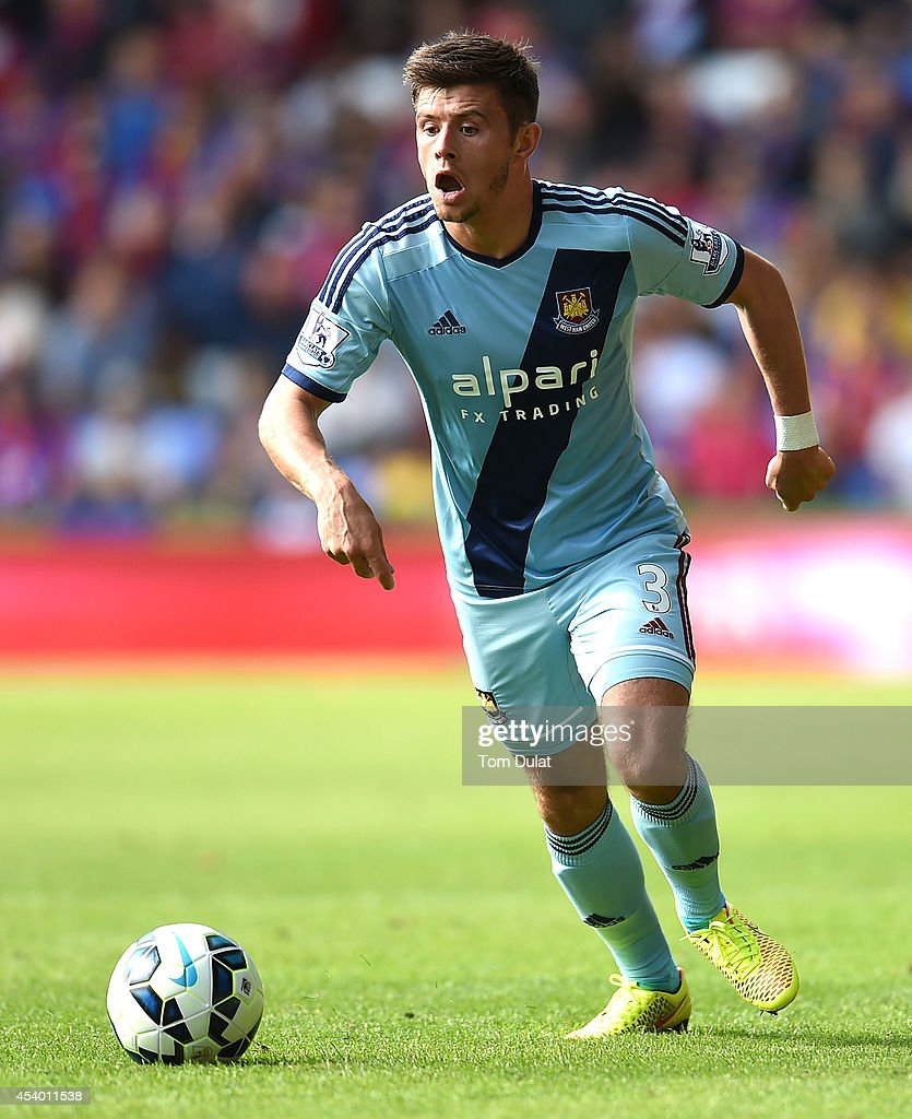 Aaron Cresswell of West Ham United in action during the Premiere League match between Crystal Palace and West Ham United at Selhurst Park on August 23, 2014 in London, England.
