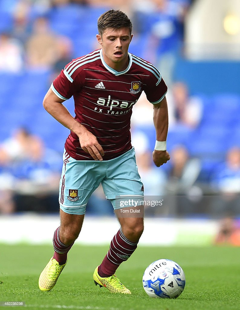 Aaron Cresswell of West Ham United in action during the pre-season friendly match between Ipswich Town and West Ham United at Portman Road on July 16, 2014 in Ipswich, England.