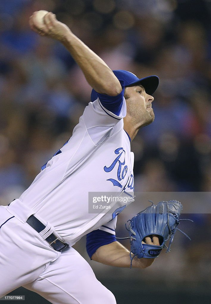 <a gi-track='captionPersonalityLinkClicked' href=/galleries/search?phrase=Aaron+Crow&family=editorial&specificpeople=6780128 ng-click='$event.stopPropagation()'>Aaron Crow</a> #43 of the Kansas City Royals throws in the ninth inning against the Chicago White Sox at Kauffman Stadium August 20, 2013 in Kansas City, Missouri.