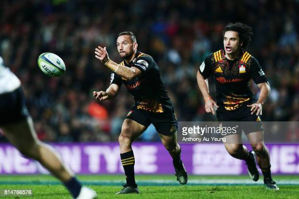 Aaron Cruden and James Lowe of the Chiefs on the attack during the round 17 Super Rugby match between the Chiefs and the Brumbies at Waikato Stadium...