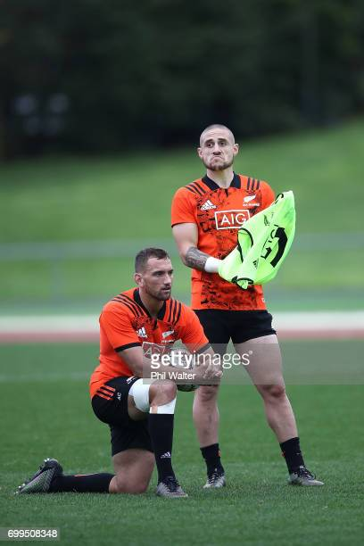 Aaron Cruden and TJ Perenara of the All Blacks during a New Zealand All Blacks training session at Trusts Stadium on June 22 2017 in Auckland New...