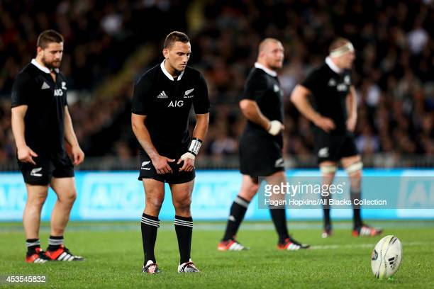 Aaron Cruden of New Zealand lines up a kick during the International Test Match between the New Zealand All Blacks and England at Eden Park on June 7...