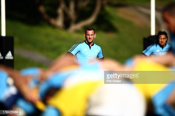 Aaron Cruden of the All Blacks awaits the ball from the scrum during a New Zealand All Blacks training session at Porirua Park on August 13 2013 in...