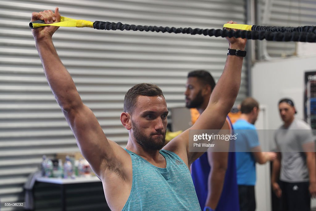 <a gi-track='captionPersonalityLinkClicked' href=/galleries/search?phrase=Aaron+Cruden&family=editorial&specificpeople=5501441 ng-click='$event.stopPropagation()'>Aaron Cruden</a> of the All Blacks during a gym session at Les Mills on May 30, 2016 in Auckland, New Zealand.