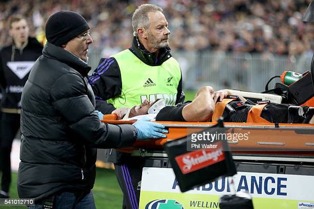 Aaron Cruden of the All Blacks is injured during the International Test match between the New Zealand All Blacks and Wales at Westpac Stadium on June...