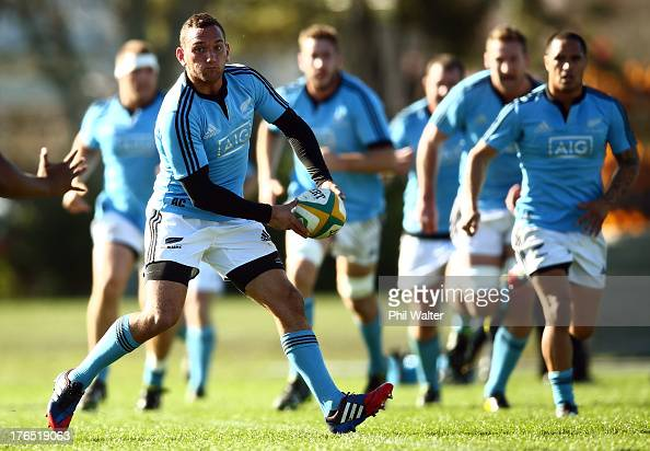 Aaron Cruden of the All Blacks looks to pass during a New Zealand All Blacks training session at the Lower Hutt Recreation Ground on August 15 2013...