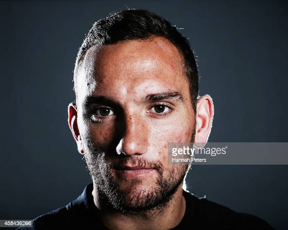 Aaron Cruden of the All Blacks poses during a New Zealand All Blacks portrait session on October 26 2014 in Auckland New Zealand