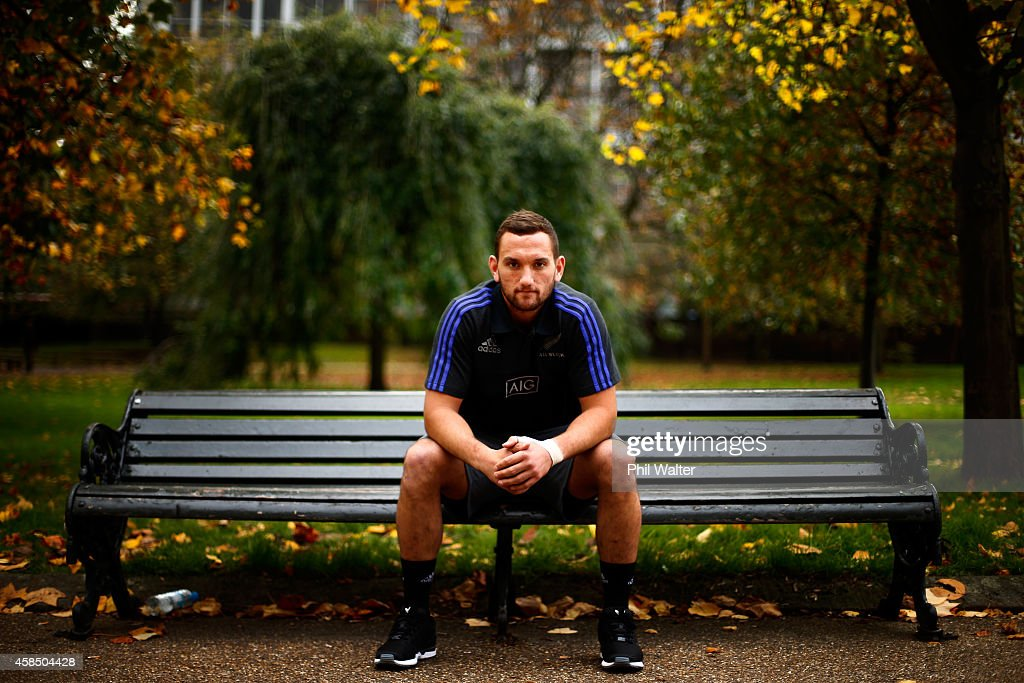 Aaron Cruden of the All Blacks poses for a portrait following a New Zealand All Blacks media session at the Royal Garden Hotel on November 6, 2014 in London, England.