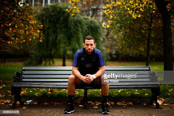 Aaron Cruden of the All Blacks poses for a portrait following a New Zealand All Blacks media session at the Royal Garden Hotel on November 6 2014 in...