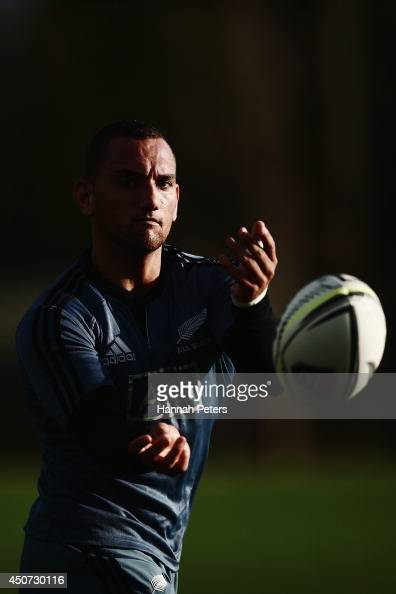 Aaron Cruden of the All Blacks runs through drills during a New Zealand All Blacks training session on June 17 2014 in Hamilton New Zealand