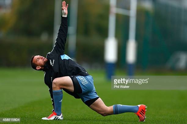 Aaron Cruden of the All Blacks warms up during a New Zealand All Blacks training session at Latymers on November 6 2014 in London England