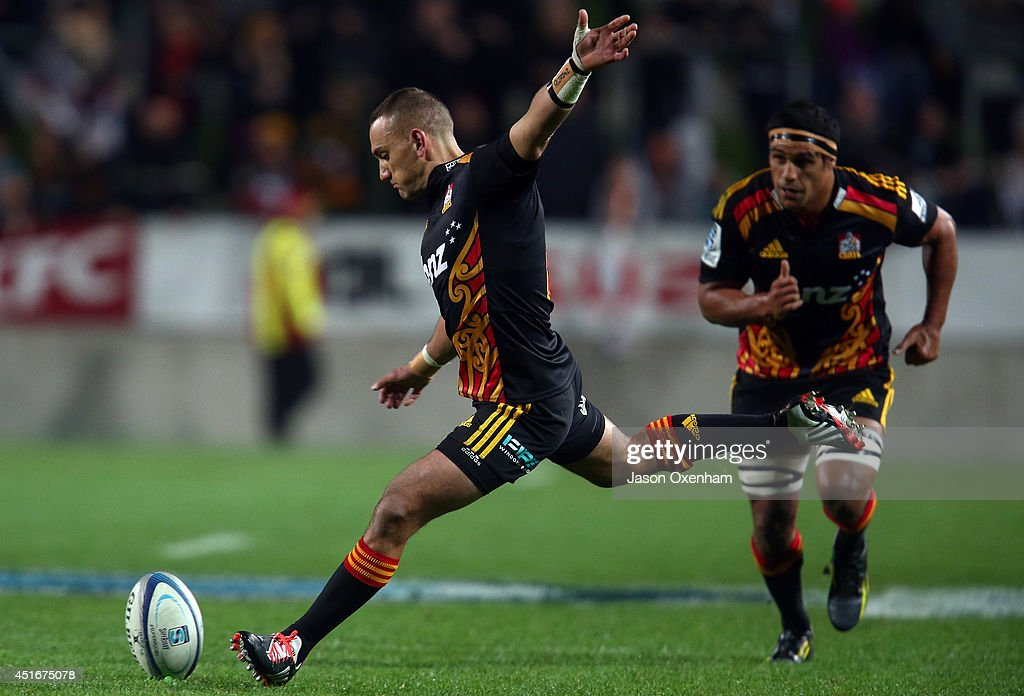 <a gi-track='captionPersonalityLinkClicked' href=/galleries/search?phrase=Aaron+Cruden&family=editorial&specificpeople=5501441 ng-click='$event.stopPropagation()'>Aaron Cruden</a> of the Chiefs attempts a penalty during the round 18 Super Rugby match between the Chiefs and the Hurricanes at Waikato Stadium on July 4, 2014 in Hamilton, New Zealand.