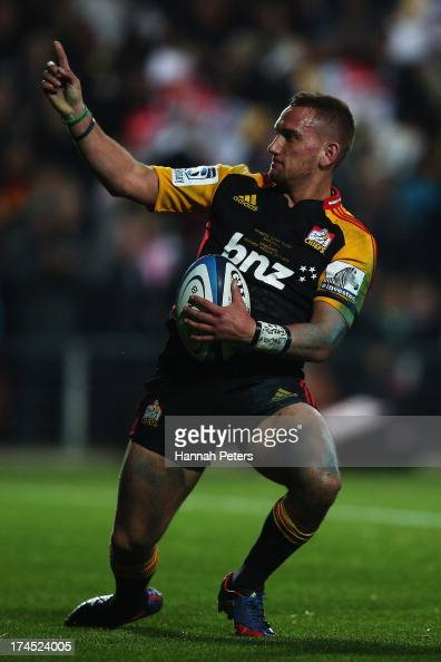Aaron Cruden of the Chiefs celebrates after scoring a try during the Super Rugby semi final match between the Chiefs and the Crusaders at Waikato...