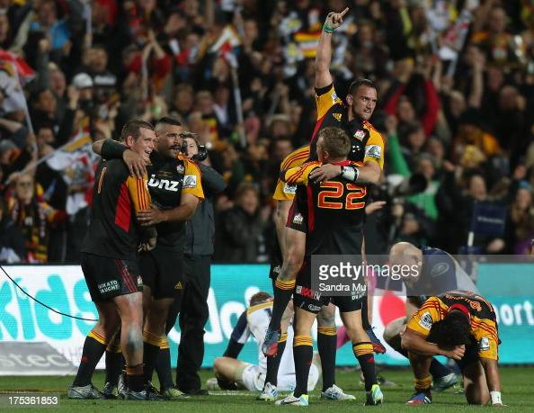 Aaron Cruden of the Chiefs celebrates with Robbie Robinson of the Chiefs after they win the Super Rugby Final match between the Chiefs and the...