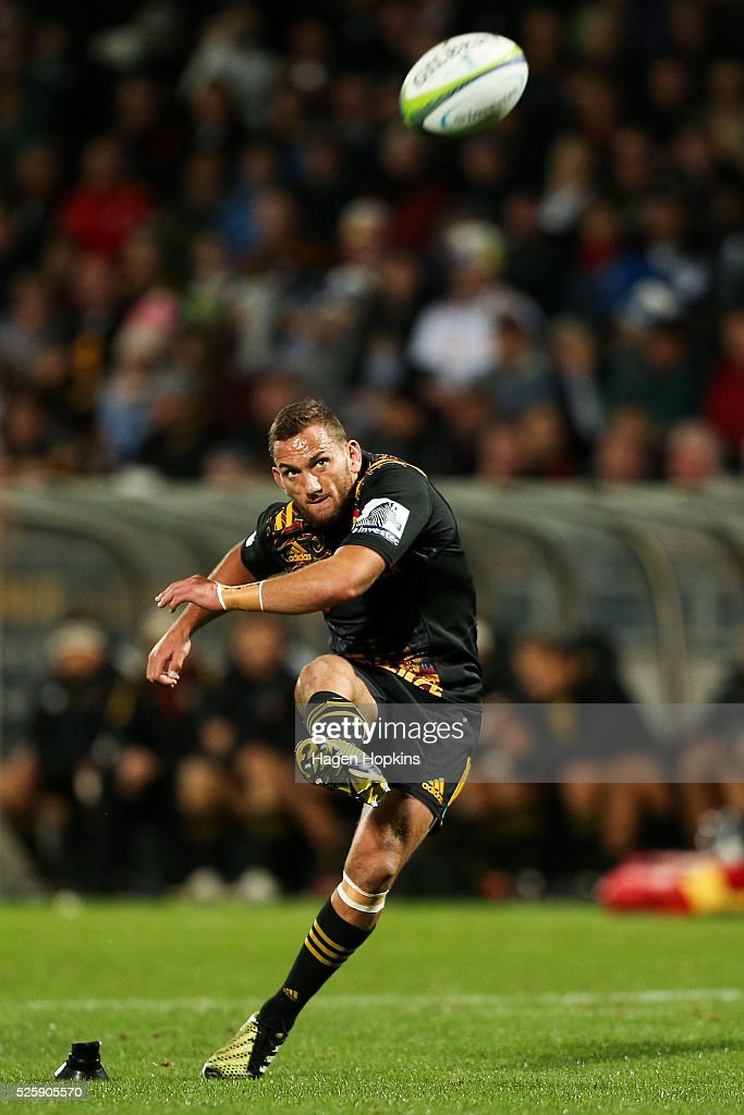 <a gi-track='captionPersonalityLinkClicked' href=/galleries/search?phrase=Aaron+Cruden&family=editorial&specificpeople=5501441 ng-click='$event.stopPropagation()'>Aaron Cruden</a> of the Chiefs kicks during the round 10 Super Rugby match between the Chiefs and the Sharks at Yarrow Stadium on April 29, 2016 in New Plymouth, New Zealand.