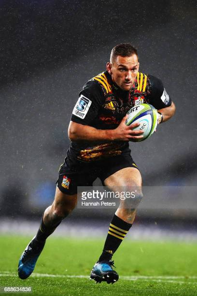 Aaron Cruden of the Chiefs makes a break during the round 14 Super Rugby match between the Blues and the Chiefs and Eden Park on May 26 2017 in...