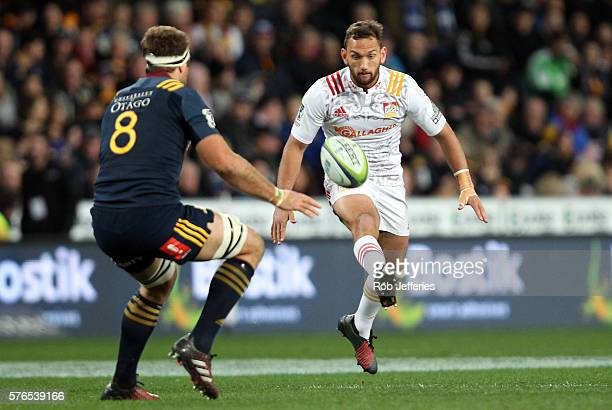 Aaron Cruden of the Chiefs on the attack during the round 17 Super Rugby match between the Highlanders and the Chiefs at Forsyth Barr Stadium on July...