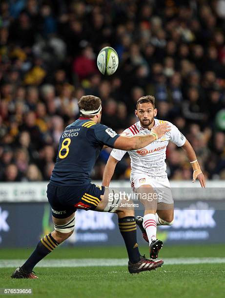 Aaron Cruden of the Chiefs puts in a chip kick during the round 17 Super Rugby match between the Highlanders and the Chiefs at Forsyth Barr Stadium...
