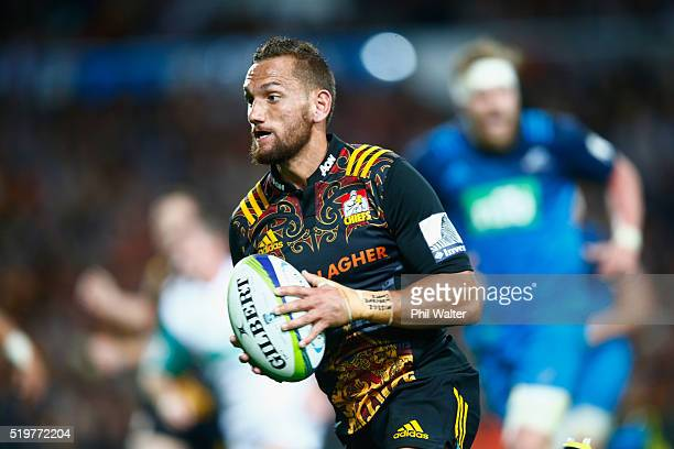Aaron Cruden of the Chiefs runs in for a try during the round seven Super Rugby match between the Chiefs and the Blues on April 8 2016 in Hamilton...