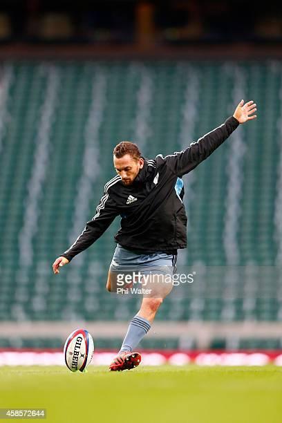 Aaron Cruden of the New Zealand All Blacks takes a kick at Twickenham Stadium on November 7 2014 in London England