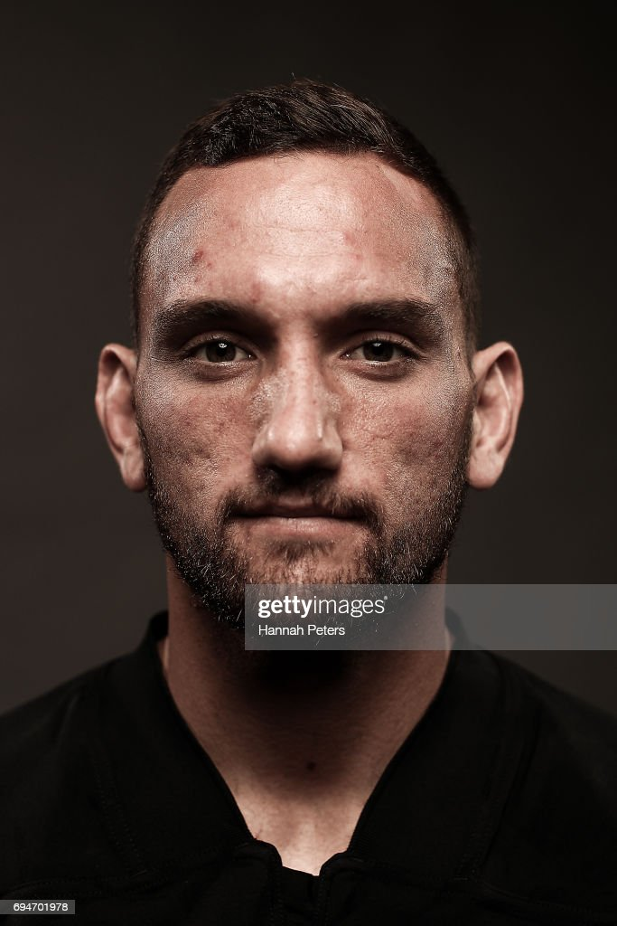 Aaron Cruden poses for a portrait during the New Zealand All Blacks Headshots Session on June 11, 2017 in Auckland, New Zealand.