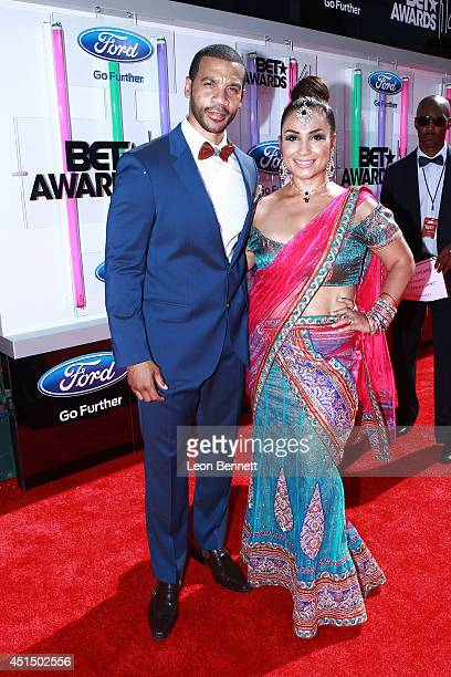 Aaron D Spears and Estela Spears arrived at the BET Make A Wish Foundation Recipient Wish To Attend BET Awards Red Carpet Arrivals on June 29 2014 in...