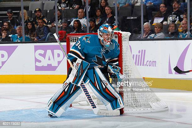 Aaron Dell of the San Jose Sharks defends the net against the Pittsburgh Penguins at SAP Center on November 5 2016 in San Jose California