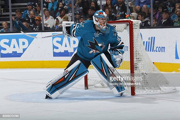 Aaron Dell of the San Jose Sharks defends the net against the Carolina Hurricanes at SAP Center on December 10 2016 in San Jose California