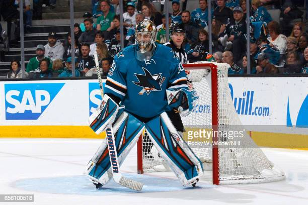 Aaron Dell of the San Jose Sharks defends the net against the Dallas Stars at SAP Center on March 12 2017 in San Jose California