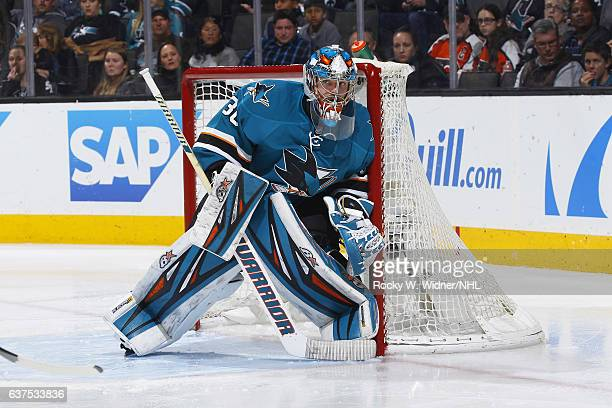 Aaron Dell of the San Jose Sharks defends the net against the Philadelphia Flyers at SAP Center on December 30 2016 in San Jose California