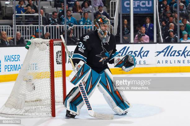 Aaron Dell of the San Jose Sharks defends the net against the St Louis Blues at SAP Center on March 16 2017 in San Jose California