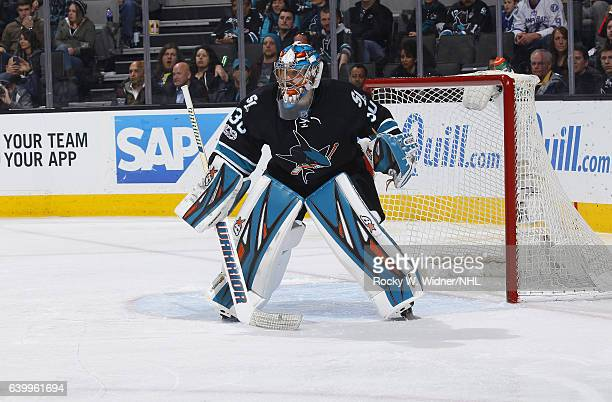 Aaron Dell of the San Jose Sharks defends the net against the Tampa Bay Lightning at SAP Center on January 19 2017 in San Jose California