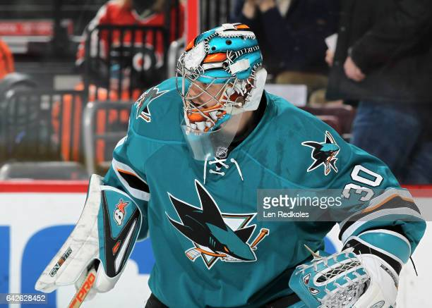Aaron Dell of the San Jose Sharks in action against the Philadelphia Flyers on February 11 2017 at the Wells Fargo Center in Philadelphia Pennsylvania