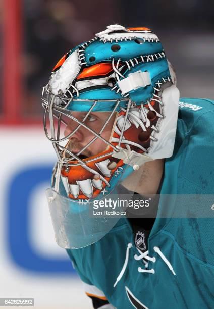 Aaron Dell of the San Jose Sharks looks on against the Philadelphia Flyers on February 11 2017 at the Wells Fargo Center in Philadelphia Pennsylvania