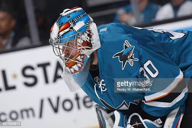Aaron Dell of the San Jose Sharks looks on during the game against the Philadelphia Flyers at SAP Center on December 30 2016 in San Jose California