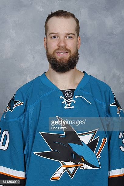 Aaron Dell of the San Jose Sharks poses for his official headshot for the 201617 season on September 22 2016 at Sharks Ice in San Jose California