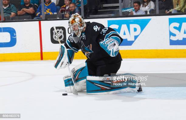 Aaron Dell of the San Jose Sharks saves the puck against the St Louis Blues at SAP Center on March 16 2017 in San Jose California