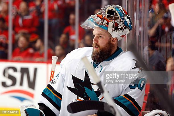 Aaron Dell of the San Jose Sharks skates against the Calgary Flames during an NHL game on January 11 2017 at the Scotiabank Saddledome in Calgary...