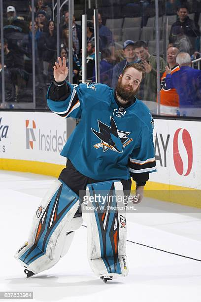 Aaron Dell of the San Jose Sharks skates back onto the ice after defeating the Philadelphia Flyers at SAP Center on December 30 2016 in San Jose...