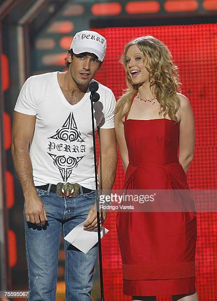 Aaron Diaz and Ana Leyevska at the Premios Juventud Awards at the University of Miami BankUnited Center on July 19 2007 in Miami Florida