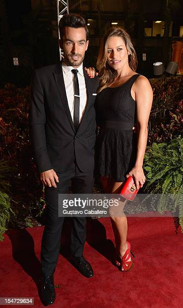 Aaron Diaz and Lola Ponce arrives at Sabado Gigante 50th Anniversary Celebration at Univision Headquarters on October 24 2012 in Miami Florida