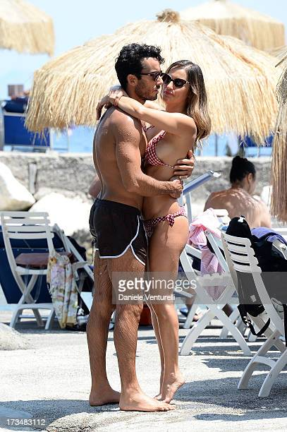 Aaron Diaz and singer Lola Ponce attend the Day 3 of Ischia Global Fest 2013on July 15 2013 in Ischia Italy
