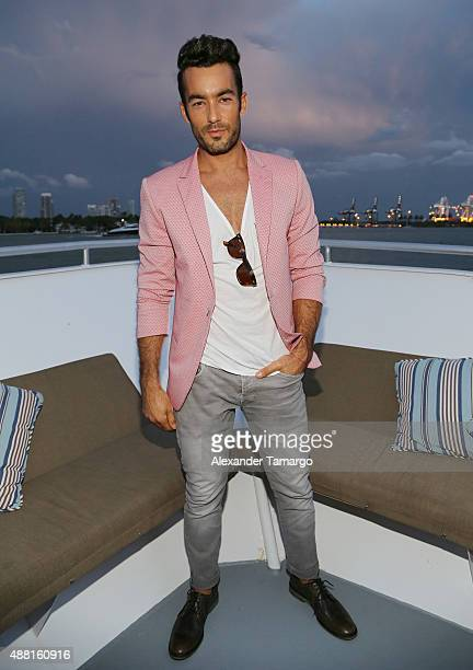 Aaron Diaz poses at the Maze Runner The Scorch Trials Miami Fan Event and Yacht Party hosted by Aaron Diaz on September 13 2015 in Miami Florida
