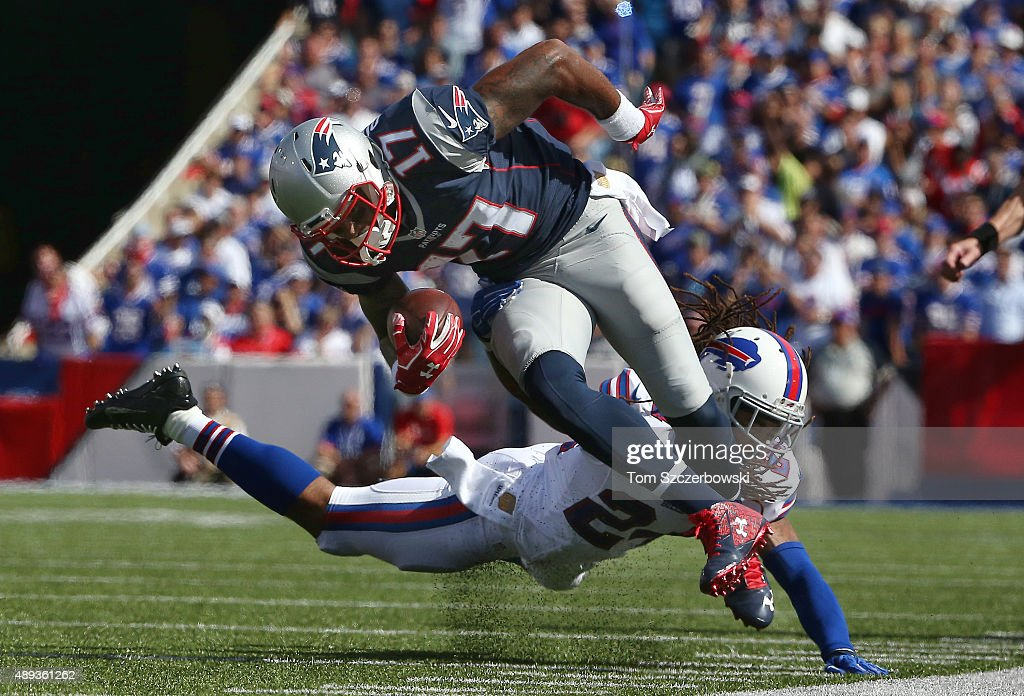 <a gi-track='captionPersonalityLinkClicked' href=/galleries/search?phrase=Aaron+Dobson&family=editorial&specificpeople=6336020 ng-click='$event.stopPropagation()'>Aaron Dobson</a> #17 of the New England Patriots is knocked out of bounds as he carries the ball during NFL game action by <a gi-track='captionPersonalityLinkClicked' href=/galleries/search?phrase=Stephon+Gilmore&family=editorial&specificpeople=5653492 ng-click='$event.stopPropagation()'>Stephon Gilmore</a> #24 of the Buffalo Bills at Ralph Wilson Stadium on September 20, 2015 in Orchard Park, New York.